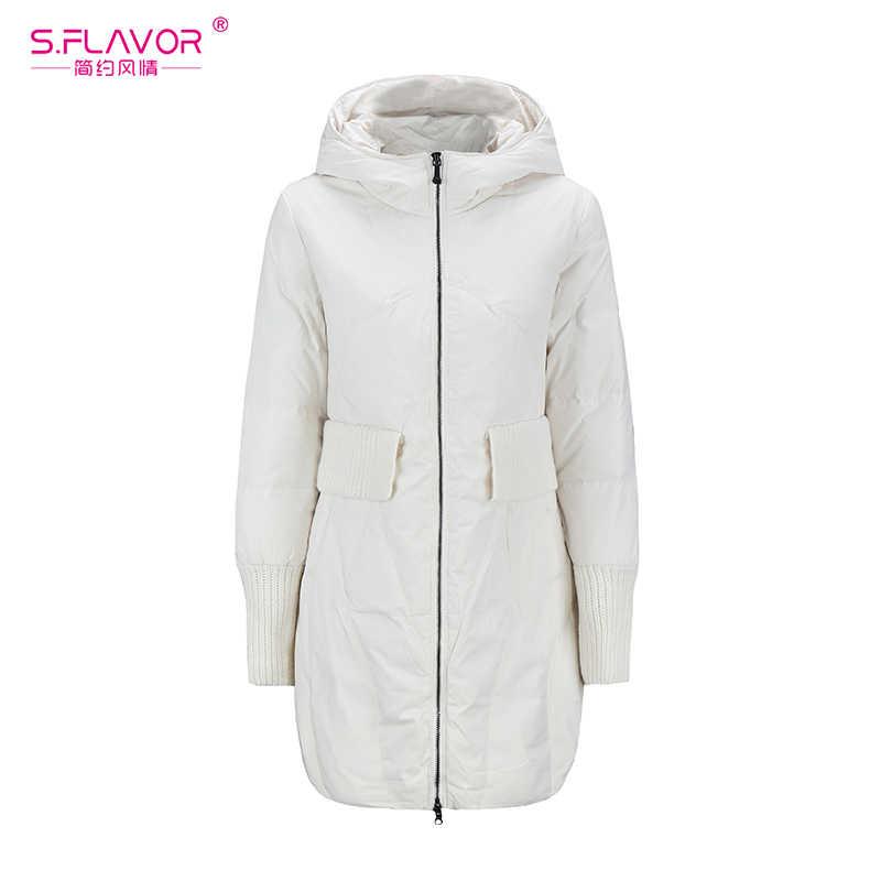Женский теплый пуховик с капюшоном S.FLAVOR, зимняя парка на молнии с длинным рукавом, повседневная зимняя верхняя одежда