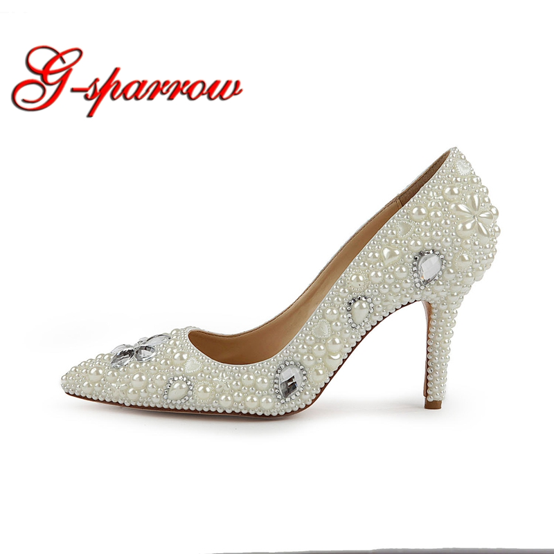 2019 Fashion Design Women High Heels Ivory Pearl Wedding Party Shoes 3 Inches Heel Bride Shoes Pointed Toe Ceremony Event Pumps bride wedding shoes 2018 chunky heel banquet party shoes fashion white pearl prom high heels pointed toe lady pumps size 41