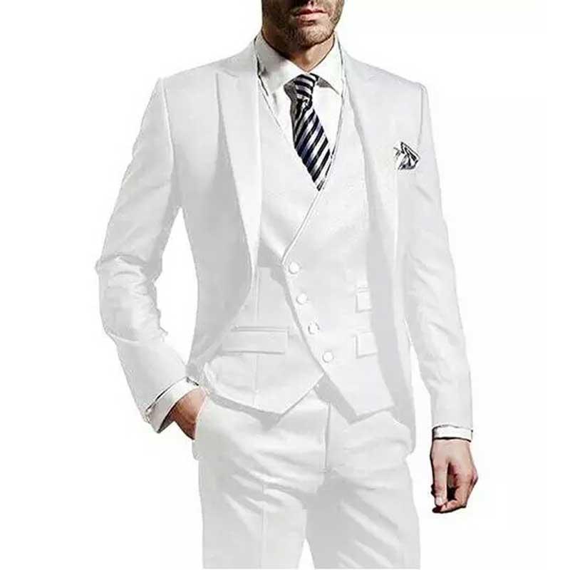 Белый Для мужчин Нарядные Костюмы для свадьбы мужские костюмы блейзеры 3 частей пальто брюки жилет костюм Homme итальянские Slim Fit Терно Masculino в