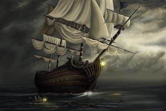 Pirate ship schooner passing in the night Diamond Painting Cross
