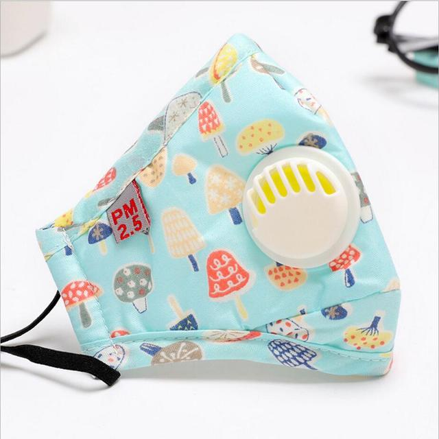 Cartoon 3-10 year old Kids mask PM2.5 Anti Haze Cotton Mask Breath valve anti-dust mouth mask Activated carbon filter respirator 2