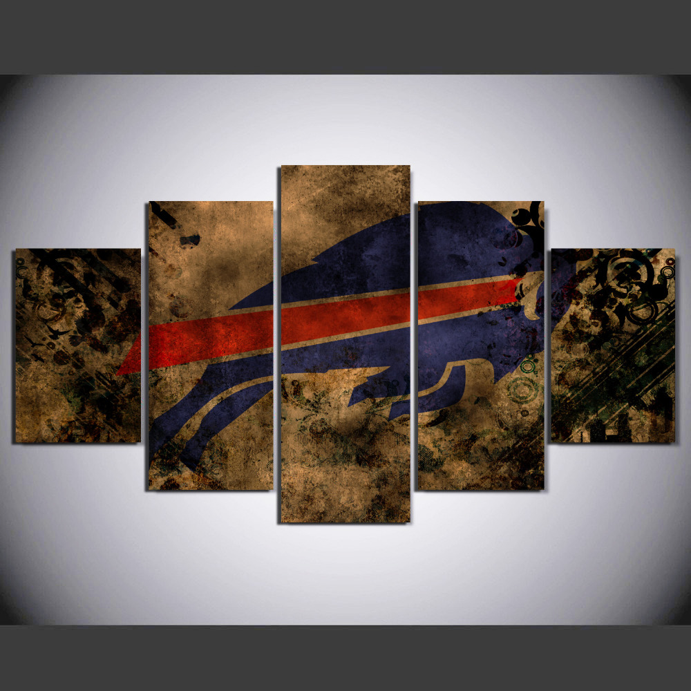 Wall Art Picture Modern Home Decor Living Room Or Sports Bedroom 5 Pieces Football Sports Canvas