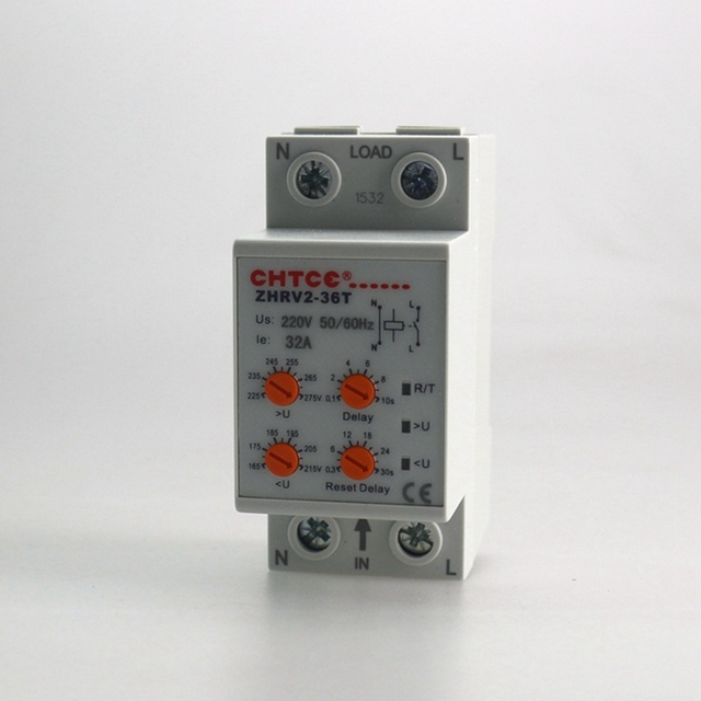 Household Self resetting Over And Under Voltage Protection Relay 32A ...