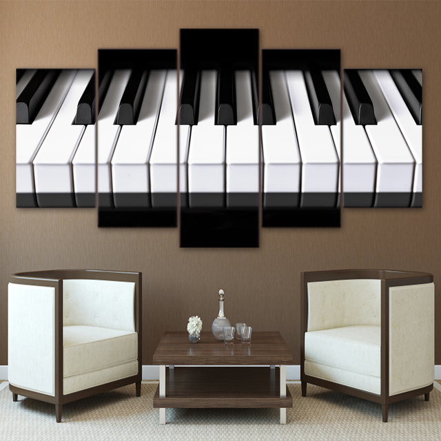 5 pieces painting canvas art piano keys hd printed music canvas