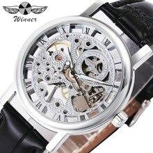WINNER Fashion Watch Men Mechanical Skeleton Dial Leather Strap Roman Numerals Transparent Case Wristwatch erkek kol saati