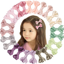 2019 Korean Solid Color Girls Headwear 6pcs/lot Handmade Ribbon With Dot Hair Accessories Children Bowknots Clips Retail
