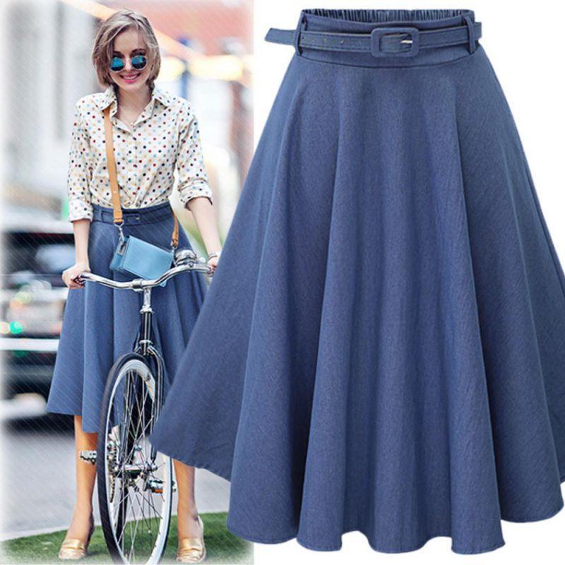 New 2019 Summer Autumn Women Denim Jeans Skirts High Elastic Waist Streetwear Midi Pleated A Line Casual Skirt Female Clothing