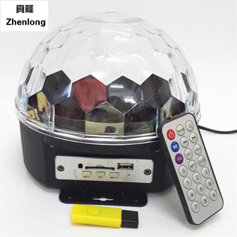 RGB MP3 Magic Crystal Ball LED Music stage light Home Party disco DJ party Stage Lights with USB Disk Remote Control 90-250V xl 10 voice remote control 24w 6 x led rgb crystal ball disco dj stage light black ac 90 270v