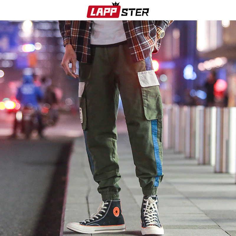 Lappster 男性ストリートパッチワーク carog パンツ 2020 オーバーオールの男性ヒップホップ色ブロックジョギングだぶだぶズボンファッション