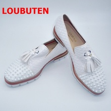 LOUBUTEN Snakeskin Pattern White Shoes Men Loafer Shoes Fashion Tassel Slip On Men Leather Shoes With Rivets Casual Men's Shoes