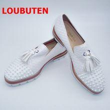 Туфли loubuten мужские с узором под змеиную кожу модные лоферы