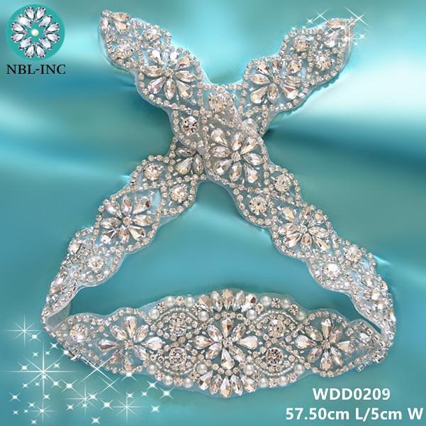 (10pcs) Handmade bridal silver clear beaded crystal rhinestone appliques  iron on for wedding dresses DIY sash belt WDD0209 d76925c21287