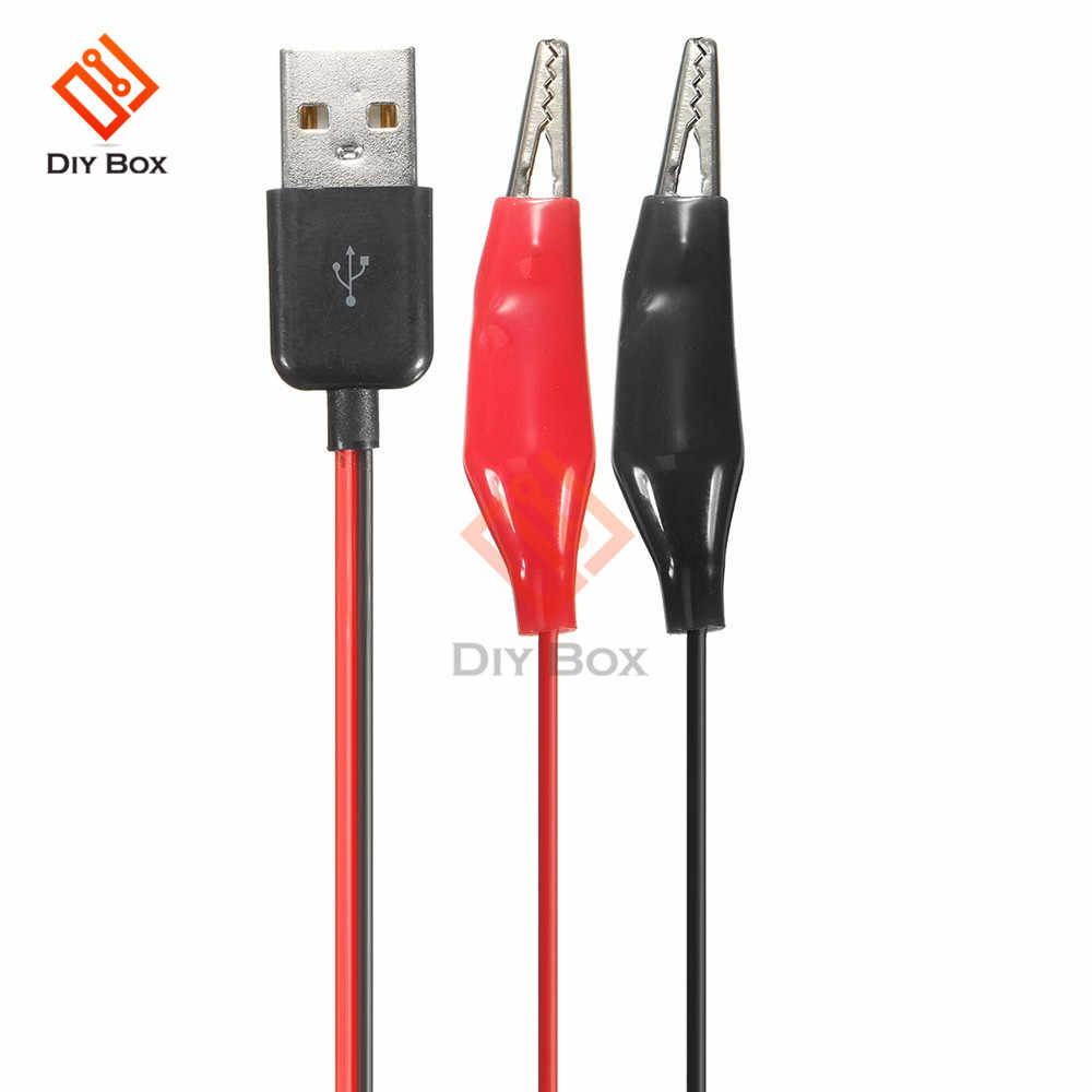 מבחן אליגטור קליפים מהדק כדי USB זכר מחבר חשמל אספקת מתאם חוט 60cm USB תנין קליפים תנין חוט