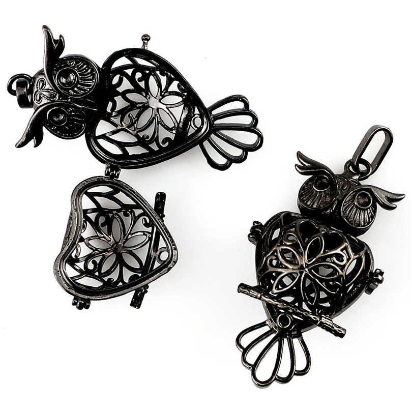 5 ชิ้น Filigree จี้กรงสีดำนกฮูก Angel Wing Cross ดอกไม้ Diffuser Locket จี้สำหรับ DIY เครื่องประดับทำด้วยมือ