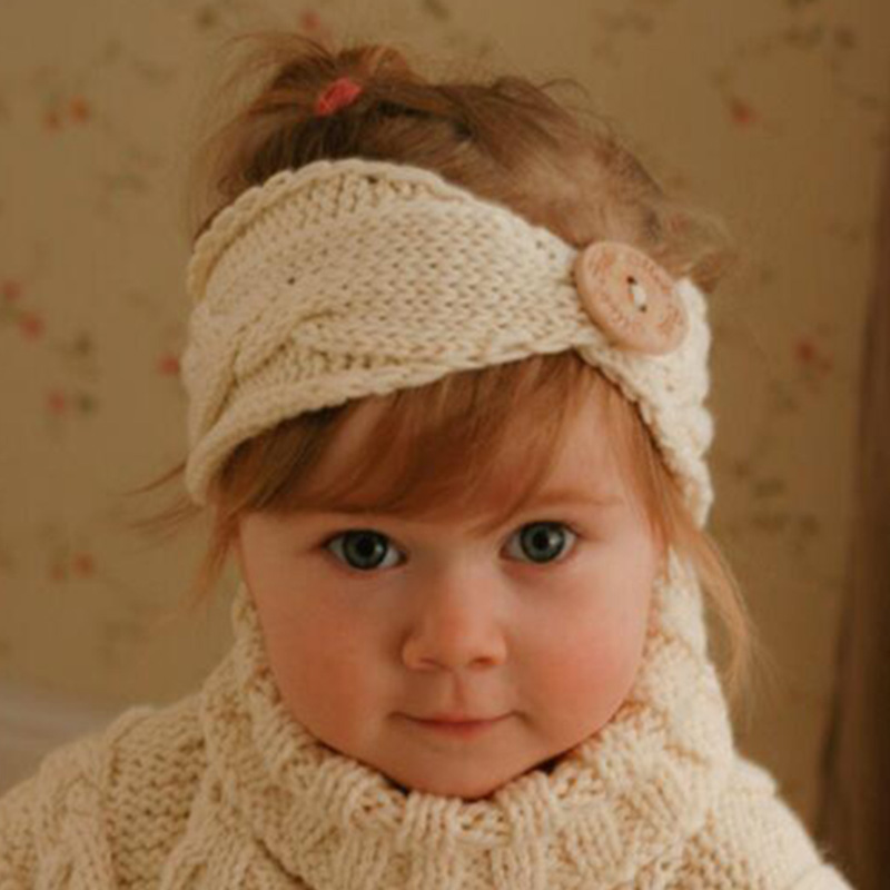 SLLIOOUS Newborn Kids Girl Turban Ear Winter Warm Button Hairband Headband Crochet Knitted Knot Head Wraps Hair Band Accessories цены онлайн