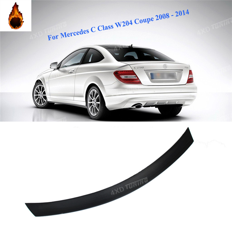 For Mercedes W204 carbon Spoiler V Style Coupe C Class W204 Carbon Fiber Rear Spoiler Rear Trunk Wing 2-Doors styling 2008- 2014 for audi a5 carbon rear spoiler s5 style carbon fiber rear spoiler rear trunk wing coupe 2 doors car 2013 2014 2015 2016 2017 on