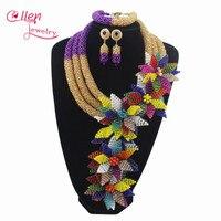 Роскошный Африканский аксессуары бусы комплекты ювелирных изделий Индии в нигерийском стиле с цветами и бусинами бисером свадебное ожерел