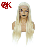 QueenKing hair Full Lace Wig 200% Density Blonde 613 Silky Straight Preplucked Hairline 100% Brazilian Human Remy Hair
