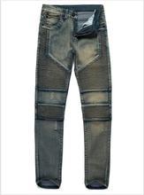 2017 джинсы для мужчин hip hop дизайнер одежды канье уэст мужчины плиссированные узкие джинсы мужчины байкер джинсы стрейч джинсовые брюки Мотоцикла джинсы