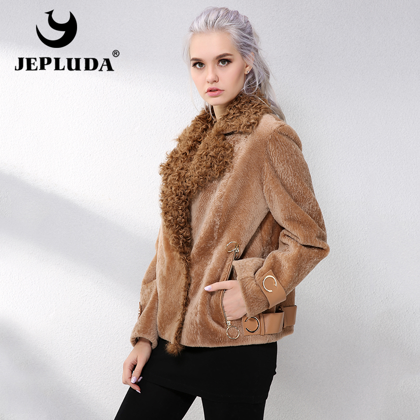JEPLUDA Natural Real Fur Coat Lapel With Lamb Fur Women's Sheepskin Coat Soft Warm Genuine Merino Sheep Fur Coat Winter Jacket