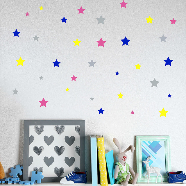 Cute Little Stars Wall Decal Colorful Stickers Nursery Decor Personalized Colors