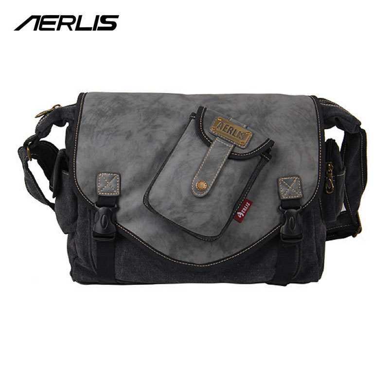 AERLIS Unique Brand Messenger Crossbody Handbag Bag Men Canvas Leather Patchwork Satchel Male Shoulder Bags Flap Pocket 4391 aerlis brand men handbag canvas pu leather satchel messenger sling bag versatile male casual crossbody shoulder school bags 4390