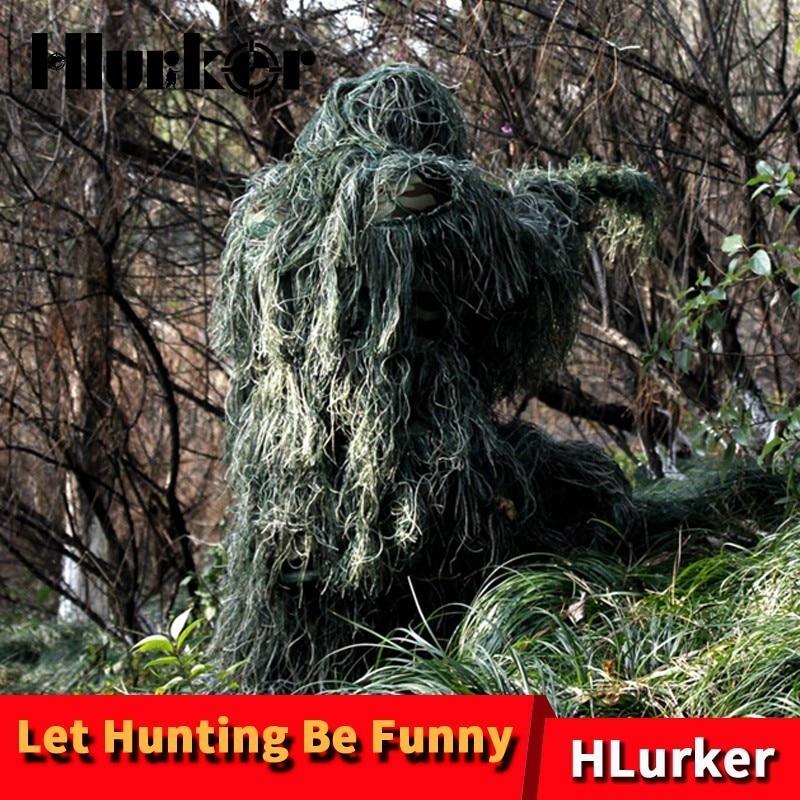 Chasse tactique militaire Jungle Camouflage lin herbe vêtements Ghillie costumes Sniper Combat invisibilité cape pour hommes femmes