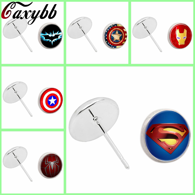 3 color Iron Man stud earring Arc Reactor 18mm round Glass dome art picture earrings jewelry handmade gift for friend CE300