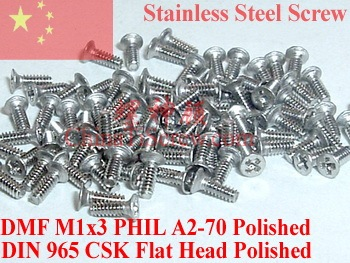 stainless steel screws M1x3 DIN 965 Flat CSK Head 00# Philips Driver A2-70 Polished
