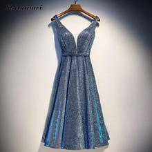 Fashion Sequin Evening Party Dresses For Women Sexy Deep V Sleeveless Shining Dress High Waist Retro Blue Backless Vestidos XS