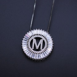 MW Initial Pendants Necklace Alphabet Initial letter Charm Chain Choker Necklace for Women Jewelry PGYTLE41