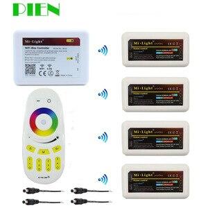 PIEN WiFi Controller led mi light hub+ RF touch 4 Zone remote+4pcs 2.4G Controller for Strip RGB RGBW RGBWW 12V-24V Free ship(China)