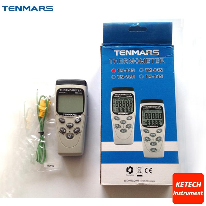 Dual LCD 5-Digit Display K/J Type -200 ~1370(1050 C) Digital Thermometer TM80N 1 2 lcd 2 digit clip on red wine digital thermometer black 2 x lr44