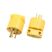 5PCS Yellow 5-15P 125V 15A 3 Pole US Detachable Industry Power Converter Plug Inline Wire Connector