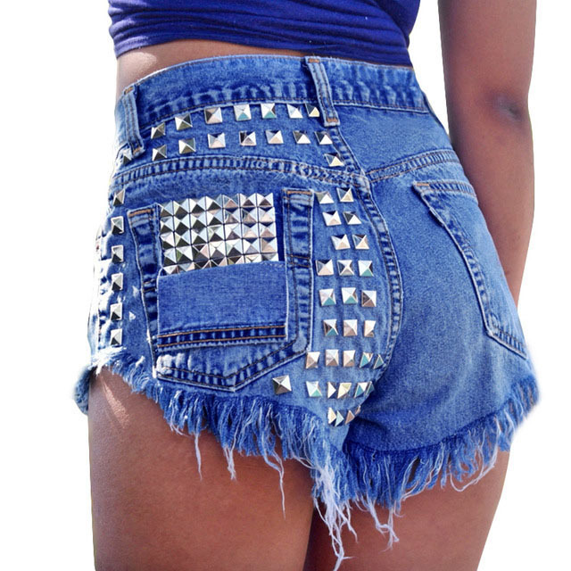 2018 Sexy Denim   Shorts   For Women High Waist Ripped Rivet Hole Jeans DJ Dance Distressed Cutoff   Shorts