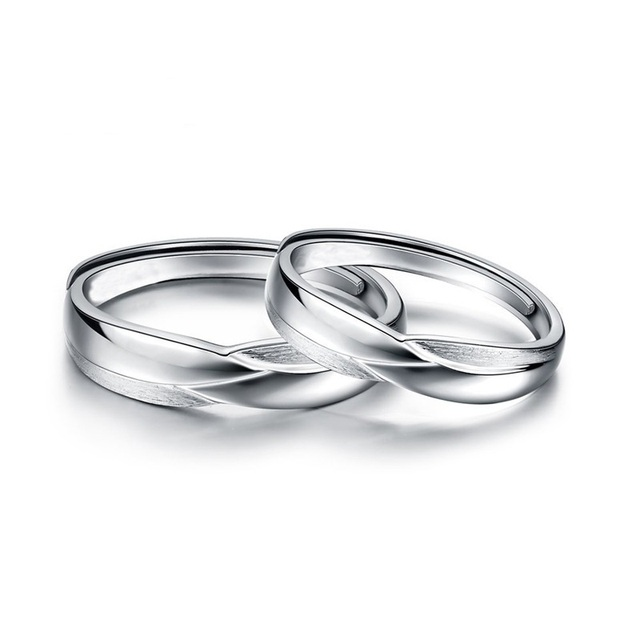 Trendy Jewelry Ring Sets For Wedding Bride And Groom Solid 925 Sterling Silver Band