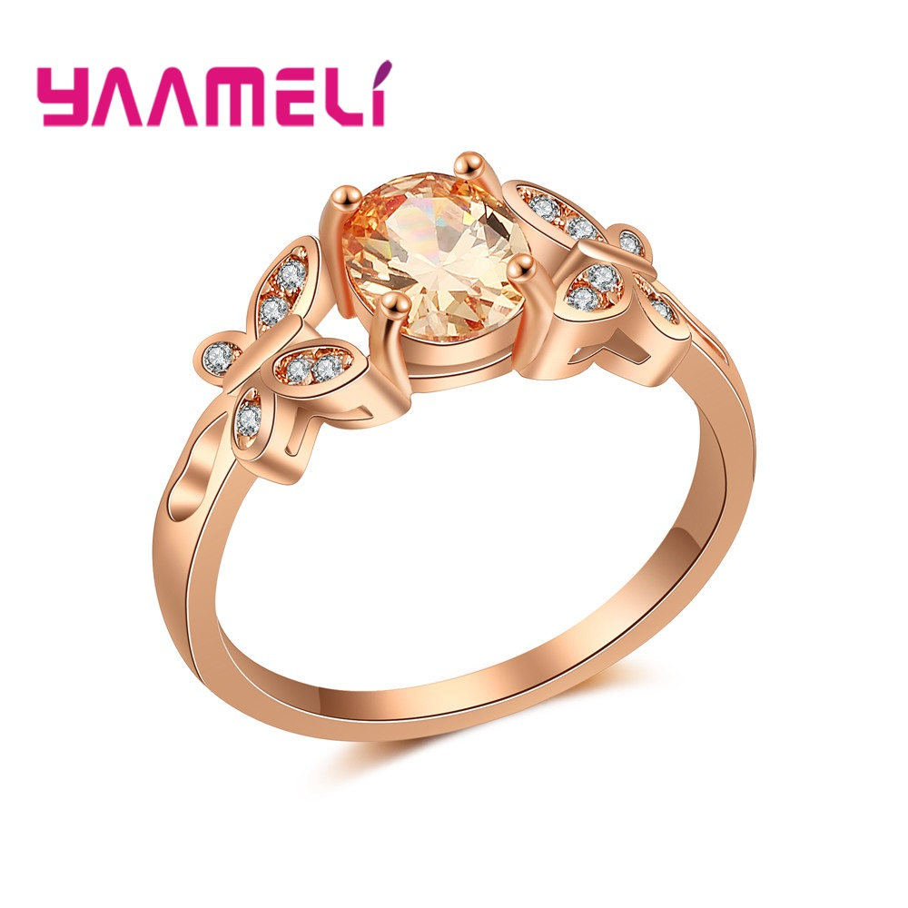 Wholesale Micro AAAA Prong Setting Cubic Zirconia Finger Rings For Women Female Crystal Jewelry Present Rose Gold Color