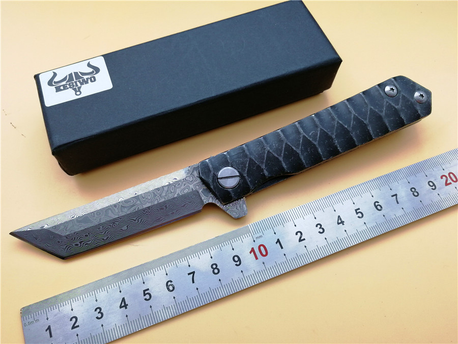 все цены на KESIWO KS85 Damascus Folding Knife Steel Handle Outdoor Utility Survival folding Knives Camping/Fishing/Pocket/EDC Knife онлайн