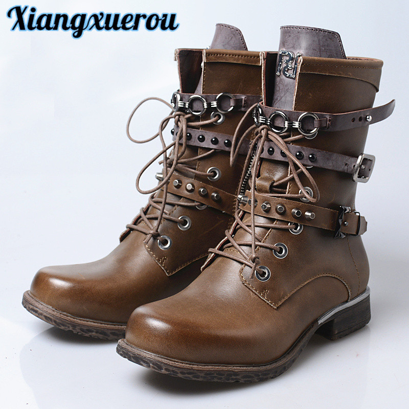 Xiangxuerou New top layer leather bovine Martin boots of 2018 brit punk strap riveted handsome female boots riveted