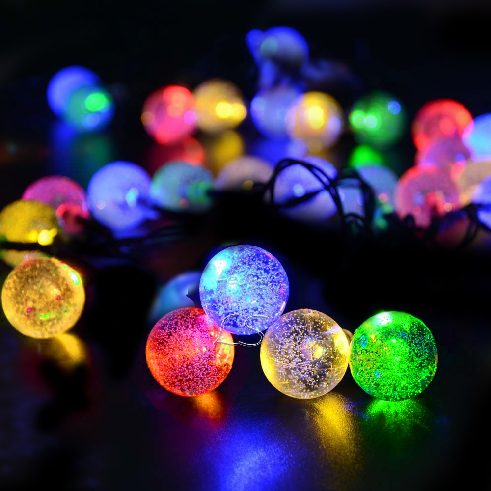 HOT 30 LED Solar Outdoor String Lights 20ft 30 LED Warm White Crystal Ball Solar Powered Globe Fairy Lights for outdoor