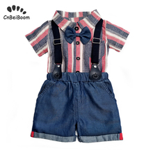 Baby boy gentlemen 3pcs outfits sets 2019 summer newborn baby clothing tie cotton romper+denim short infant clothes set