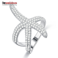 LZESHINE Sparkling Starfish Rings With 925 Sterling Silver Pave AAA CZ Luxury Brand Ladies Party Rings