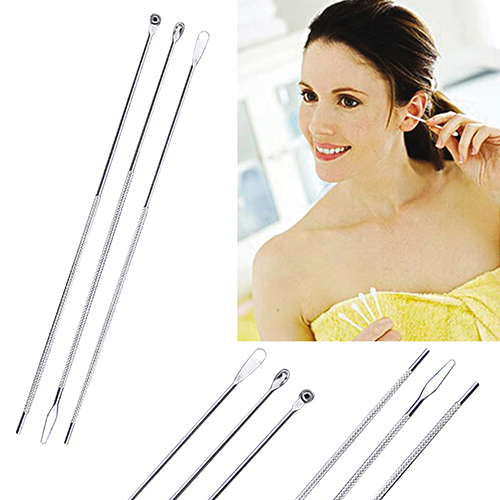 3Pcs/set Stainless Steel Spiral Type Earpick Wax Remover Curette Remover Anti-slip Ear Pick Spoon Ear Cleaner Tool For Adult 1
