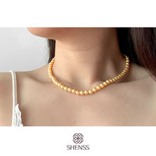 Elegant Gold Preal Necklace Classic Temperament Wedding Necklace 6-10mm Shell Pearl Cream 925 Sterling Silver Chain for Women elegant quality silver 925 jewelry classic temperament wedding necklace 8mm pearl cream s925 sterling silver chain for women