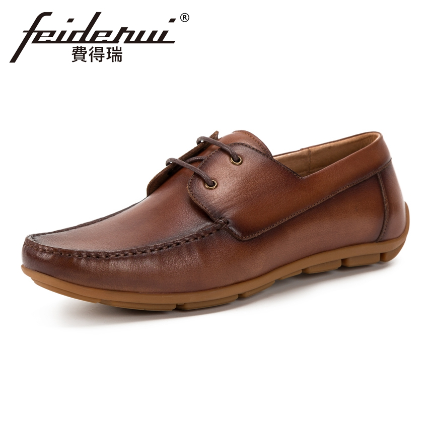 New Arrival Genuine Leather Men's Comfortable Moccasin Footwear Round Toe Lace up Flat Heels Handmade Man Casual Shoes KUD155 white casual shoes man genuine leather male footwear lace up round toe new arrival fashion british lacets chaussures top quality