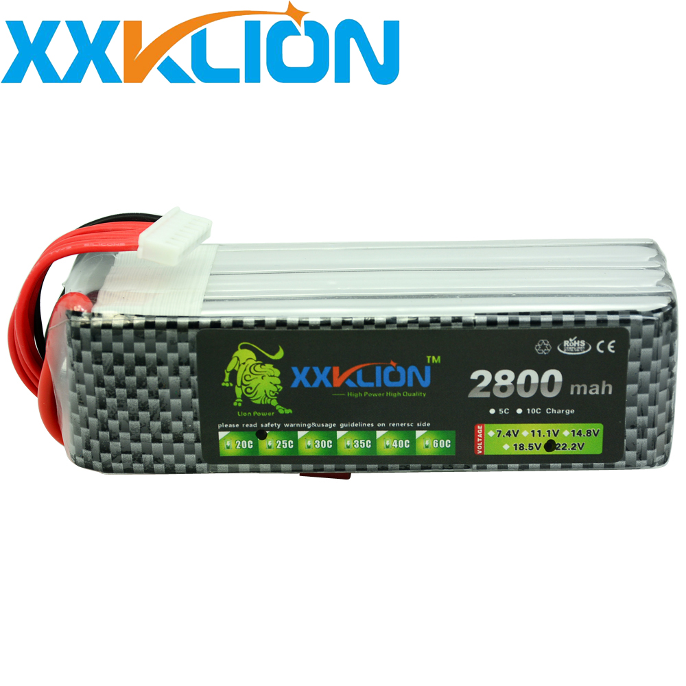 XXKLION Lipo 22.2V 2800mAh 25C 6S battery for rc boat RC Drone Airplane glider Helicopter Car Model plane Free Shipping