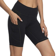 Womens 8 / 5 High Waist Workout Yoga Running Compression Shorts Tummy Control Side Pockets