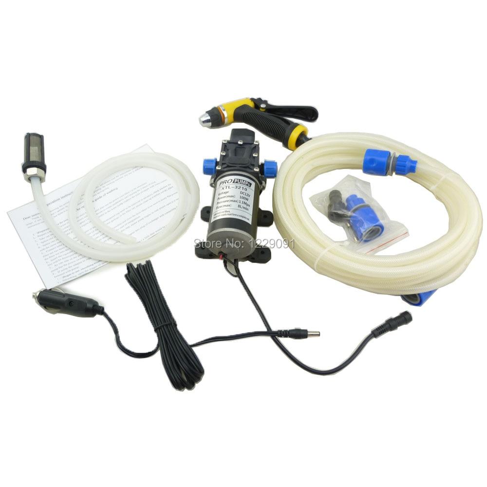 Купить с кэшбэком 12V Portable 100W 160PSI High Pressure Self-priming Electric Car Wash Washer Washing Machine Cigarette Lighter with Water Pump