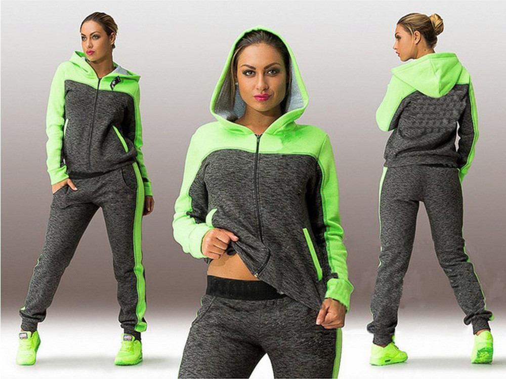 Sports Suit Women Two Piece Set Hooded Sweatshirt Suits Tracksuits Sweatpants Tight Gym Running Set Sports Wear Autumn Winter