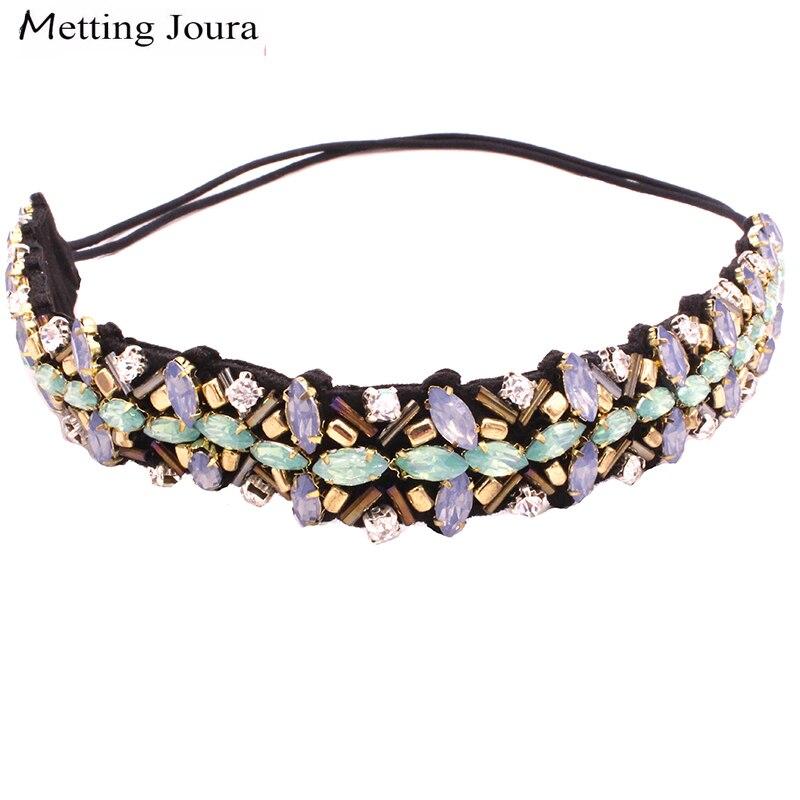Винтажный богемский этнический металлический бисер Metting Joura, повязка на голову, вечерние аксессуары для волос зеленого цвета